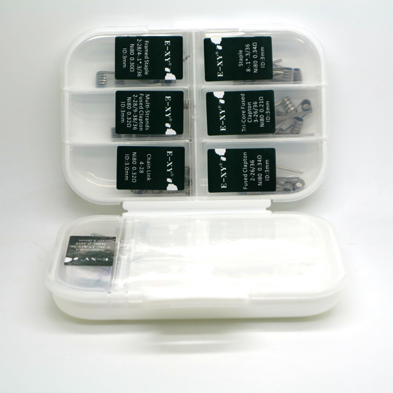 E-XY 7 in 1 Premade Coils Box Kit Fused Clapton Juggernaut Prebuilt NI80 coil Wires Cottons for E cig RDA tank