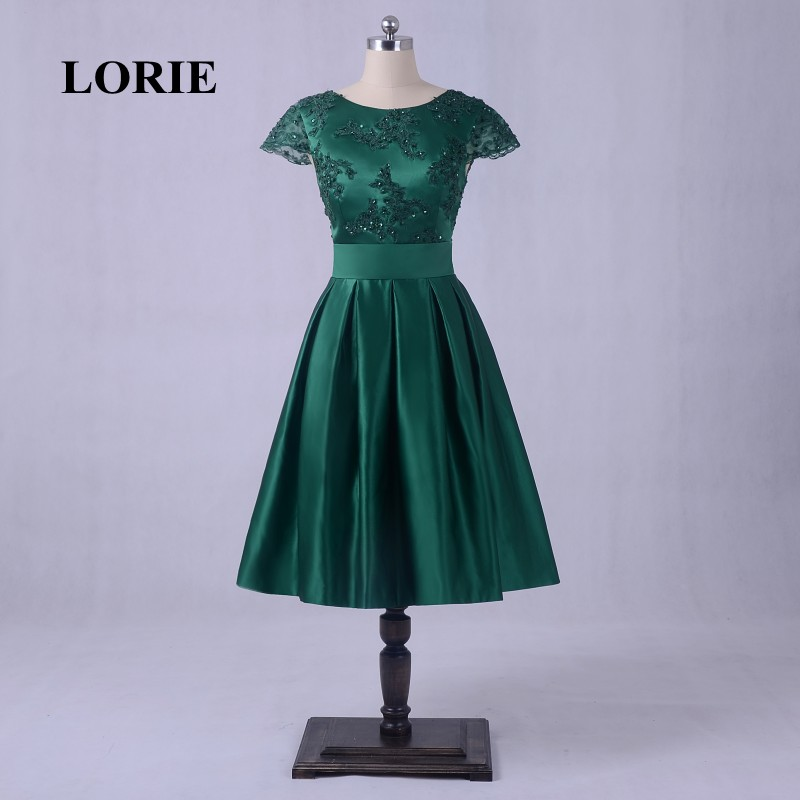 LORIE Lace Vintage Prom Dresses Real Photo Cap Sleeve Emerald Green Short Evening  Dress Satin 1950 s Tea Length Party Gowns 36df28754a1f