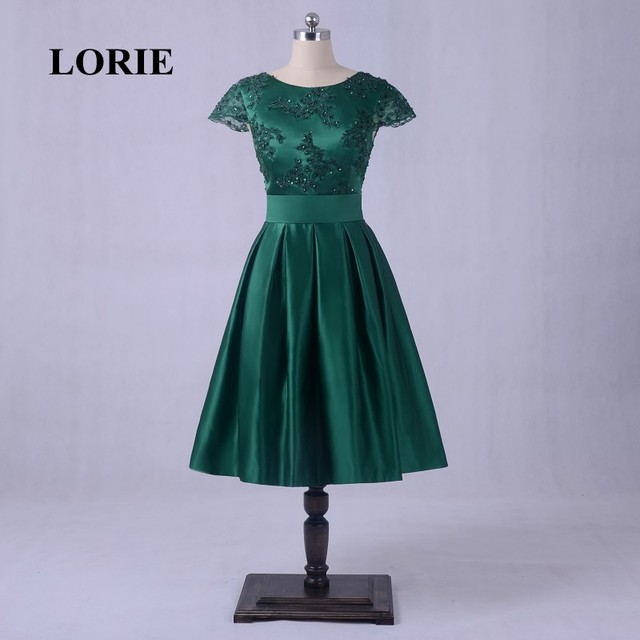 LORIE Lace Vintage Prom Dresses Real Photo Cap Sleeve Emerald Green Short Evening Dress Satin 1950's Tea Length Party Gowns