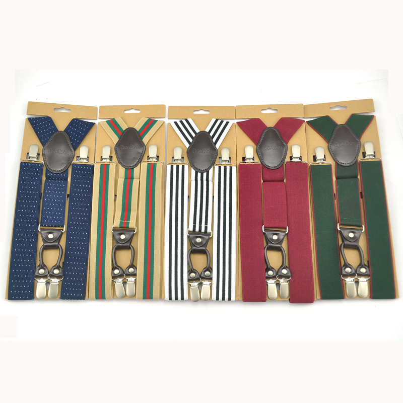 2020 New 4 Clip On 5 Colors High Quality Adjustable 3.5cm Suspenders Men With Paper Card Gallus Y-back Elastic Braces Suspender