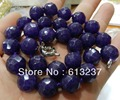 new 2015 Fashion Style diy  10mm Faceted shape Amethyst Jasper beads necklace 18'' A++ GE4024