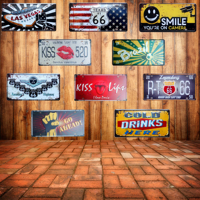 Hot Route 66 Vintage Car License Metal Signs Las Vegas Creative Number Signs Home Decor Iron Painting Craft Gift 15X30CM N057