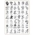 Animal Lindo de la historieta Diseños de uñas nail art placa de la imagen de disco Plantilla Stamping Ratón Gato Perro Herramientas de BRICOLAJE con Trasera de Protección OS-01