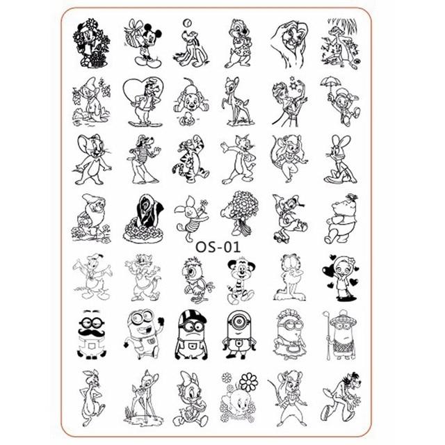 Cartoon Cute Animal Designs nail disk nail art image plate Stamping ...