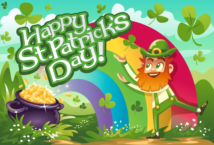 US $3.69 23% OFF Laeacco Rainbow Clover Cartoon Leprechauns Happy St. Patrick's Day Photography Background Customized Backdrops For Photo Studio-in ...