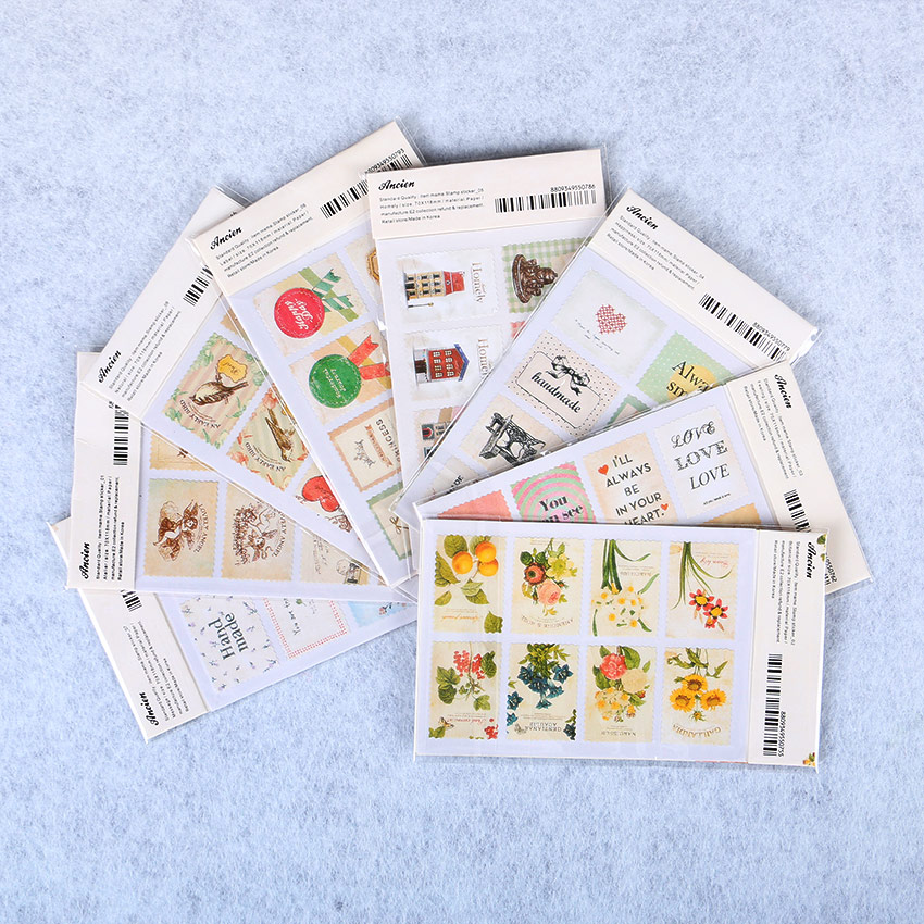 16PCS/Set Creative Paper Stamp Sticker Decoration Decal Diary Album Scrapbooking Envelope Seal Stationery Sticker aspirations of girl diy transparent clear rubber stamp seal paper craft photo album diary scrapbooking paper card rm 244