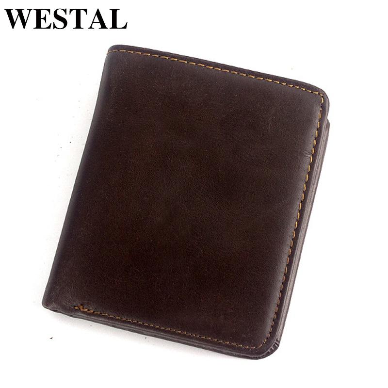 WESTAL Wallet Men Purse Money-Bag Credit-Card-Holder Slim Male Genuine-Leather Cluth-Bag