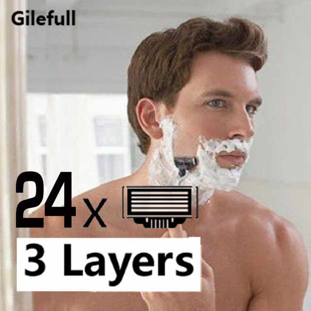 24pcs/lot High quality Razor Blades for Men Face Care,3 layers Shaving Razor Blade Suit For Gillettee Mach3 Handle