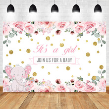 NeoBack Pink Cute Elephant Baby Shower Photo Backdrop Girl Flowers Gold Dots Background Photophone