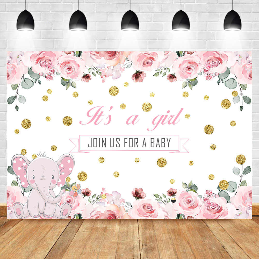 Neoback Pink Cute Elephant Baby Shower Photo Backdrop Baby Girl Pink Flowers Gold Dots Photo Background Photophone Aliexpress