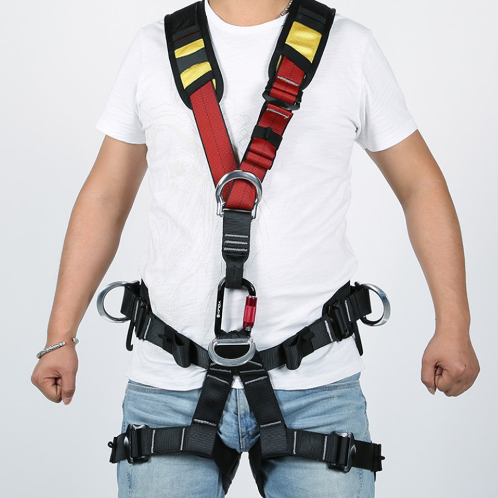Adjustable Outdoor Sports Rock Climbing Rappelling Full Body Safety Harness Wearing Seat Belt Rappelling Equipment Climbing Acce hot sale safety body harness outdoor mountaineering rock climbing harness protect waist seat belt outside multi tools