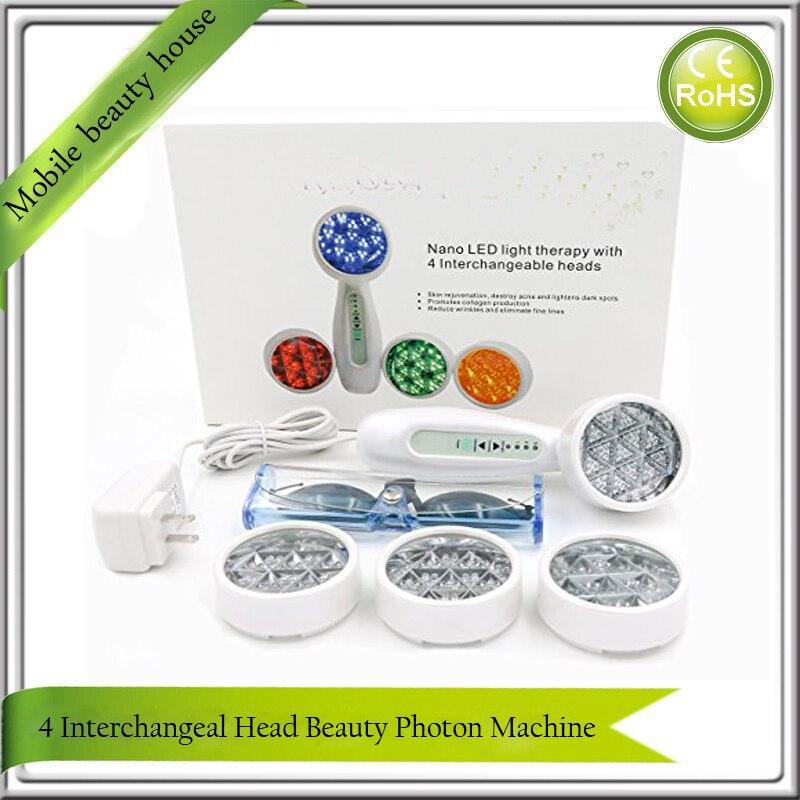 Four Heads Detachable IPL Nano Bio Wave LED light Photon Skin Rejuvenation Anti Acne Wrinkle Freckle Removal Face Beauty Machine цена