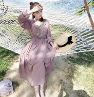 2018 Spring And Autumn Embroidery Bare Pink Full Sleeve Women Dress Lace Beach Chiffon Artistic Elegant Dress