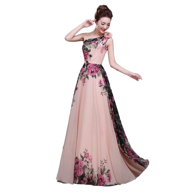 Elegant flower one shoulder floor length long evening gowns women ...