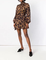 100% шелковое леопардовое платье с длинным рукавом галстук бабочка с высоким воротом мини платье с поясом женское