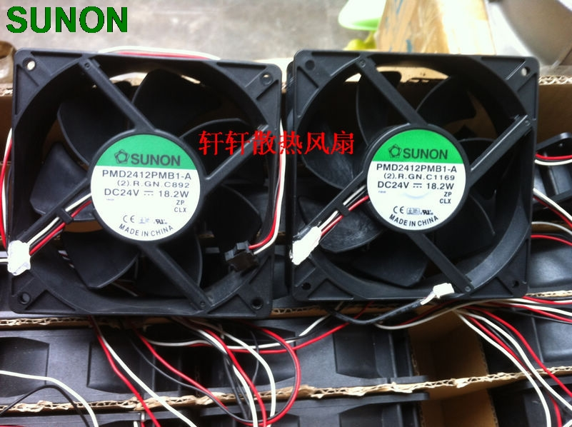 SUNON PMD2412PMB1-A 12CM double ball bearing fan 24v 18.2W server inverter cooling fan ffb1324vhe b inverter double ball bearing cooling fan ffb1324vhe dc 24v 14 4w 0 9a 3050rpm 12738 127 127 38mm 12cm