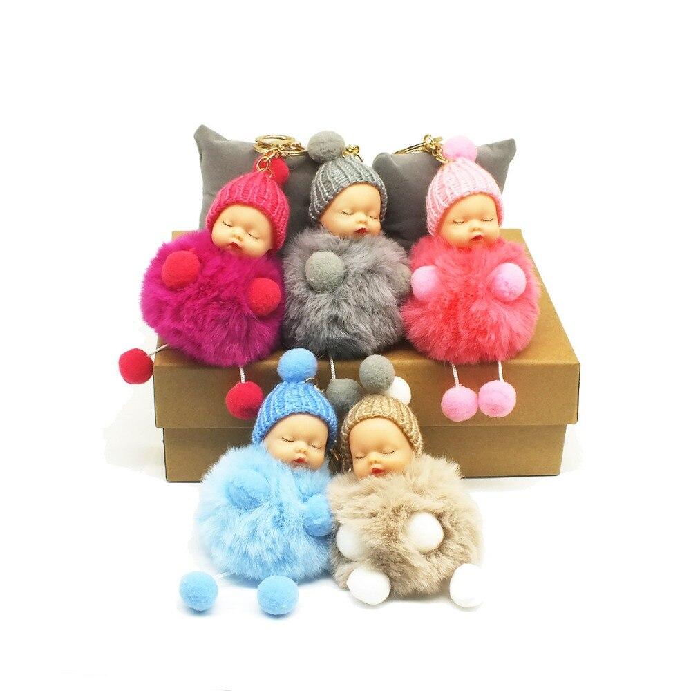 Zoeber Cute Sleeping Baby Doll Key Chain Faux Rabbit Fur Keychain Fluffy Pom Pom Pompom Bowknot Keyring Bag Trinket Women Gift delicate faux fur dot mini bag shape keyring for women