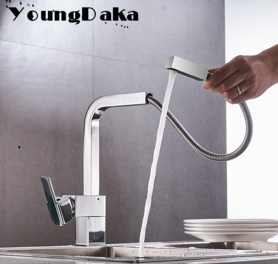 2018 New Arrival . Wholesale And Retail Chrome Kitchen Sink Faucet Hot&Cold Water Mixer Tap 360 Degree Swivel Pull Out  Faucets wholesale and retail chrome finished pull out sink kitchen faucet swivel vessel sink mixer tap pull out crane kitchen mixer mjh8