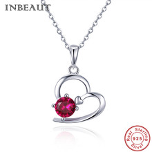 INBEAUT Teen Girls Elegant Heart Pendant Necklace 925 Sterling Silver Red Stone Heart-shaped Beads Necklaces for Women Zircon