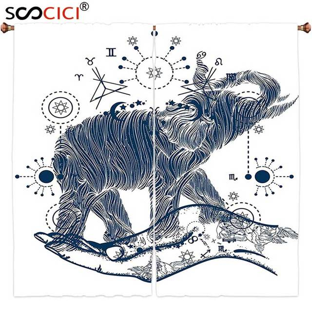 US $77 8 |Window Curtains Treatments 2 Panels,Psychedelic Elephant in the  Hands with Sacred Geometry Occult Symbols Inner Balance-in Curtains from