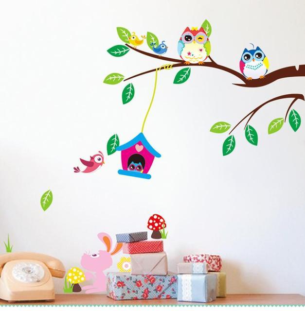 cartoon owls bird branch flowers wall stickers for kids room living room nursery 3D home decor vinyl pvc Backdrop stickers mural