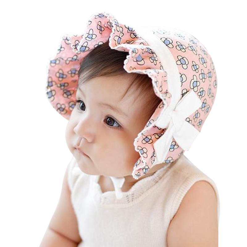 Flower Sweet Baby Beanie Hat Lace Up Bow Baby Hat For Girls Cotton Soft Infant Beanie Sun Protect Girls Hat Spring Autumn 2018