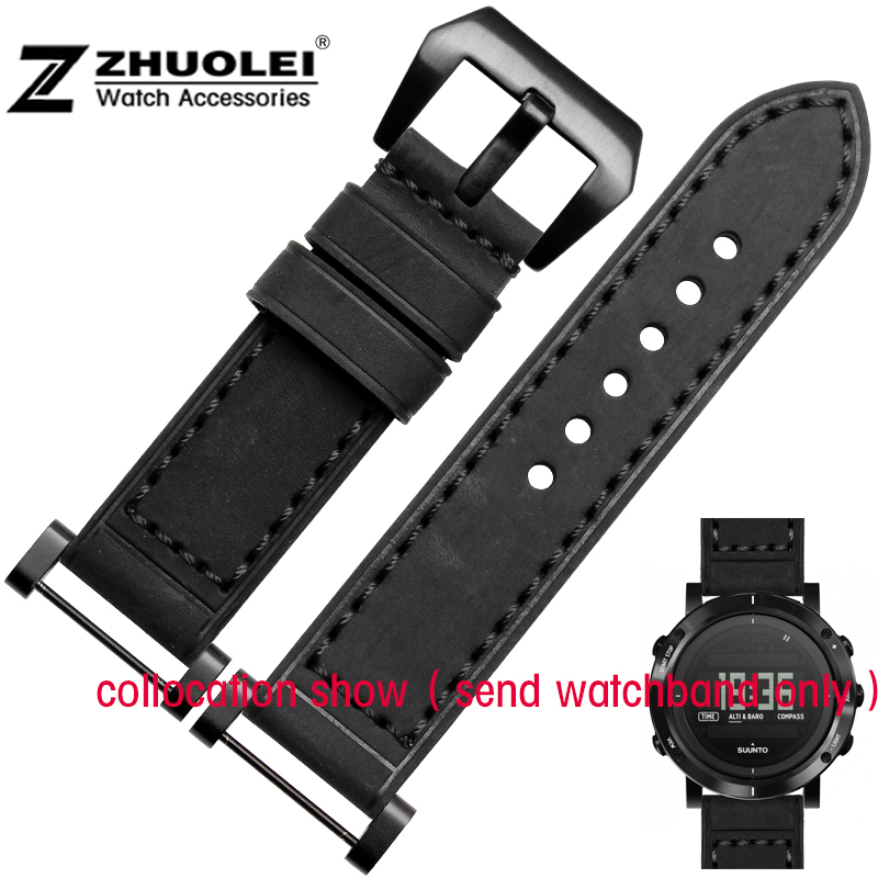Genuine Leather Watchband with adapter For Sunto Core wristband watch song Billiton core source 24mm black gray
