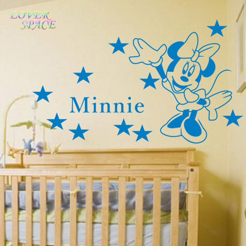 Minnie Mouse Wall Stickers for Kids Room Removeable Waterproof Vinyl Wall Stickers Home Decor Classic Cartoon Blackboard Sticker