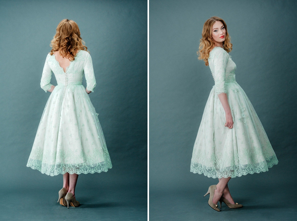 2015 Vintage Fresh Mint Green Tea Length Vintage Evening Dresses ...