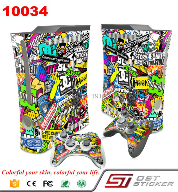 OSTSTICKER Scrawl Vinyl Skin Full Set Skin Stickers For Xbox 360 fat Console 2 Controllers Skin Cover Decal
