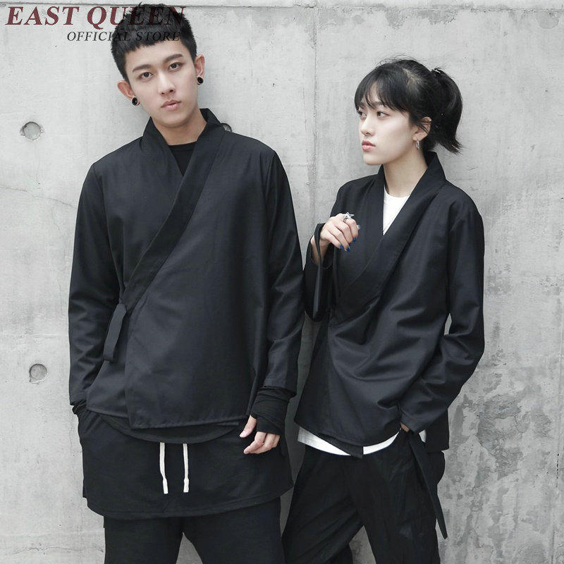 Japanese Kimono Traditional For Men Women Couples Matching Yukata Male Haori Obi Black Kimono Cardigan KK2382