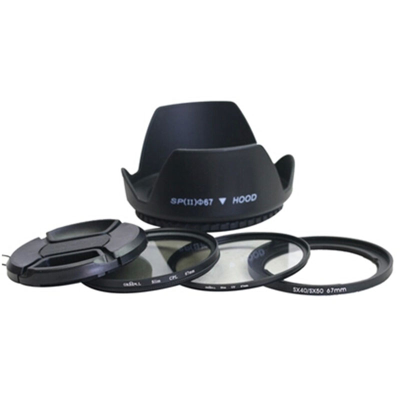 5in1 Sx Dc 67mm Lens Adapter Ring Kit +lens Cap +lens Hood+uv +cpl Filter For Canon SX30 SX40   SX50 HS To 67mm Lens Protector