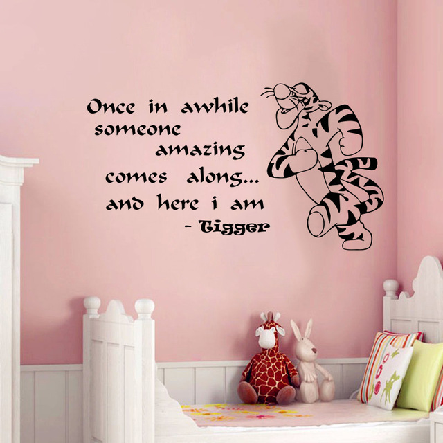 Free Shipping Multicolor Cute Tigger Home Decoration Baby Quote Wall Decal Nursery Removable Stickers