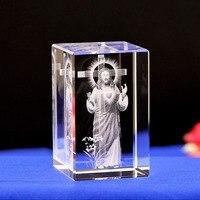 1 pcs Jesus K9 Crystal Laser 3D Internal Statue Sculpture Inter engraving Figurines Miniatures Crystal Arts Crafts Home Decor