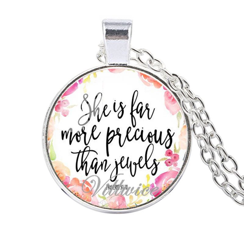 US $0 93 51% OFF|She Is Far More Precious Than Jewels Bible Verses Necklace  Silver Color Charm Quote Scripture Christian Jewelry Faith Gifts-in