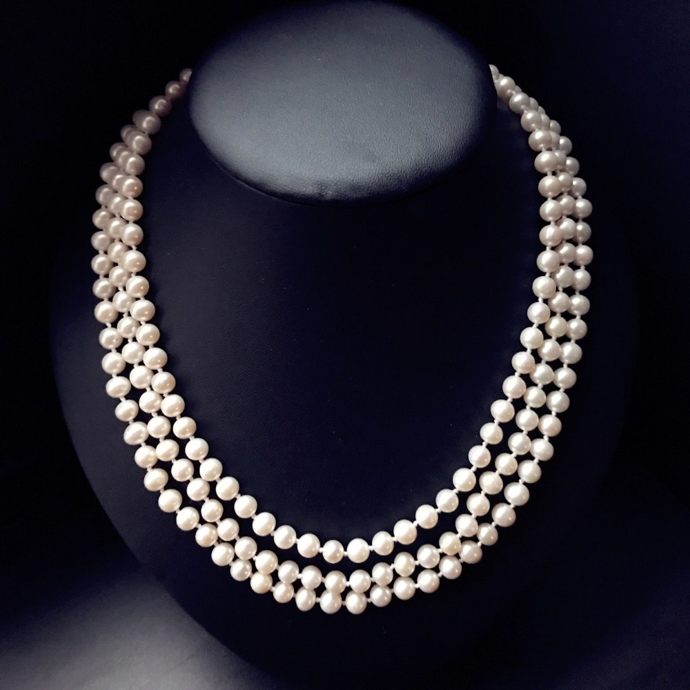 Z4507 Freshwater Pearl Necklace,wedding pearl necklace, Multi Strand Pearl Necklace