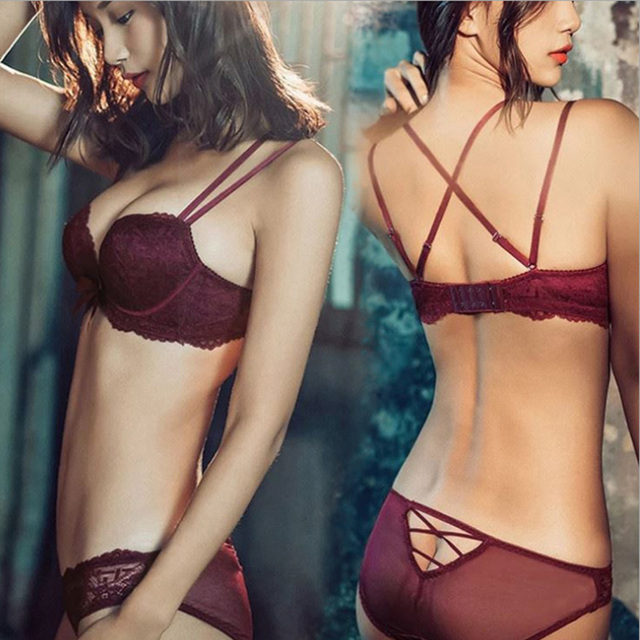b9e84a4711 Sexy Lace Wire Free Underwear Push Up Bra Set Women Padded Backless Lingerie  Set Bras Knickers Briefs Brasier Mujer