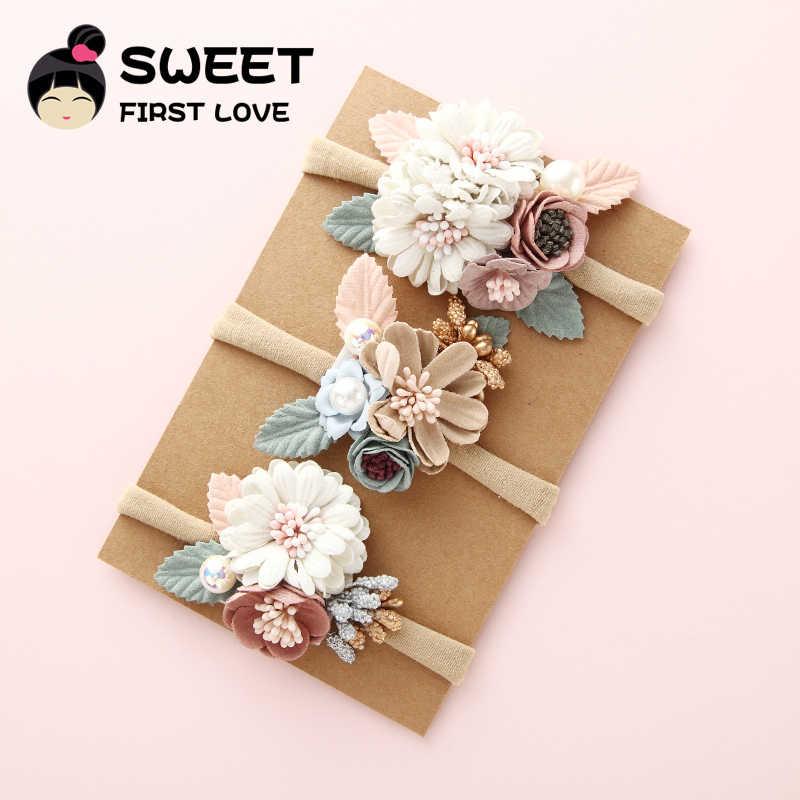 3PCS Girls Nylon Flower Headband with Pearl, Vintage Floral Hair Bows Elastic Hairband for Kids Headwear Hair Accessories