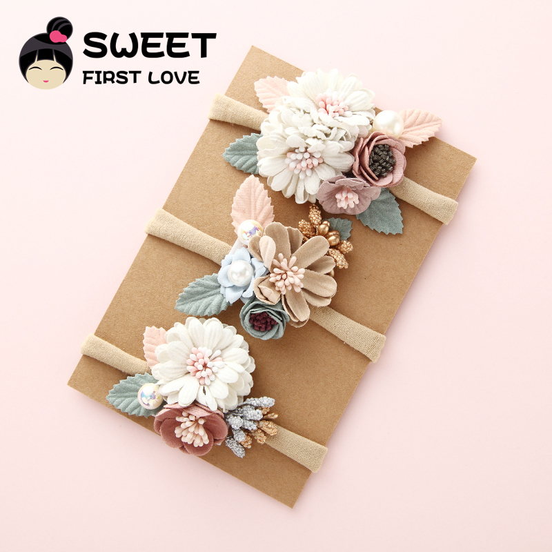 3PCS Girls Nylon Flower Headband with Pearl, Vintage Floral Hair Bows Elastic Hairband for Kids   Headwear   Hair Accessories