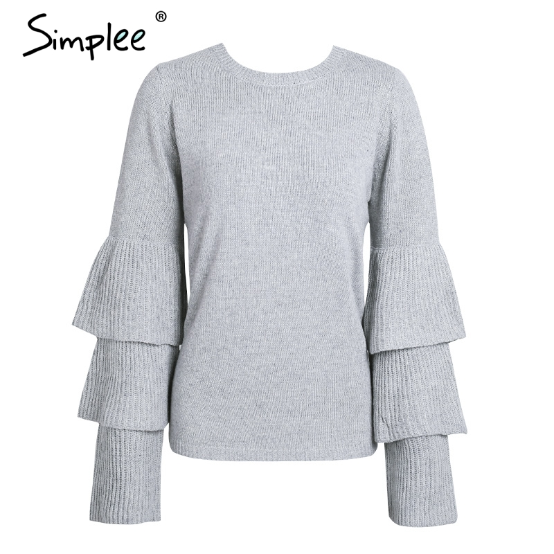 6ed8d10037 Simplee Knitting ruffles winter sweater women Loose flare sleeve pullover  female 2017 Casual party knit pull femme jumper - TakoFashion - Women s  Clothing ...