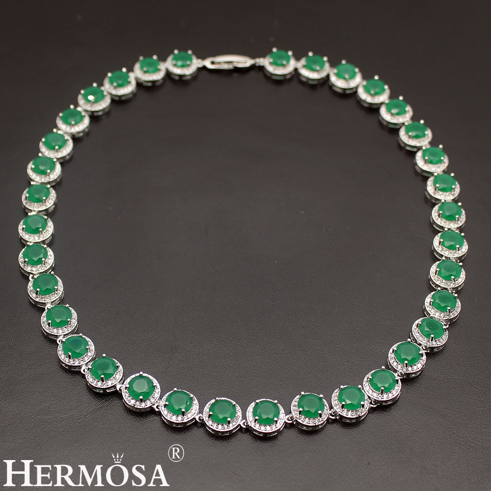 HERMOSA JEWELRY 925 Silver Women Choker Sterling-Silver Necklace Classic Round Style Jewelry Fashion Party Dress Up Lady Design hermosa jewelry hot multi color round design 925 sterling silver fashion earring st81