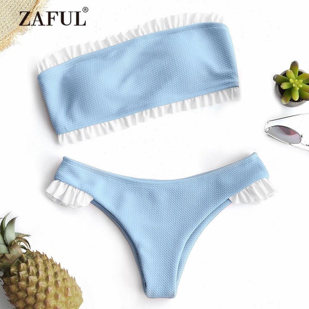 ZAFUL Women Swimsuit Frilled Textured Strapless Bikini Set Women's Swimwear Padded Low Waist Ruffles Bandeau Bikini SwimmingSuit