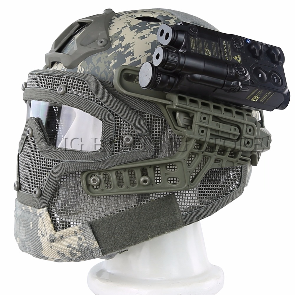 Airsoft Paintball PJ Type FAST Tactical Shooting Helmet Integrated With Full Mask And Goggles 2017new fma maritime tactical helmet abs de bk fg for airsoft paintball tb815 814 816 cycling helmet safety