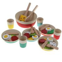 43pcs Wooden Salad Set Kitchen Cooking Pretend Play Role Playing Game Educational Toys Birthday Gift for Children Kids Toddler