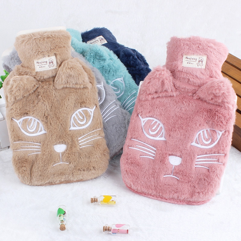 Winter irrigation water hot water bag cartoon large warm waist Plush flannel safety warm water bag lovely cartoon mini charging electric hot water bag environmental protection material safety explosion proof anti warm water bag