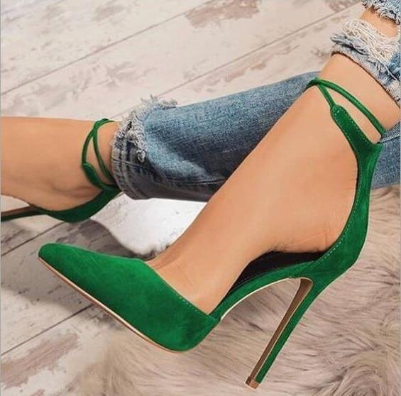 Fashion High Heels Pumps 12cm Green Flock Autmne Dress Shoes Pointed Toe Ankle Straps Women Shallow Pumps Office Plus Size