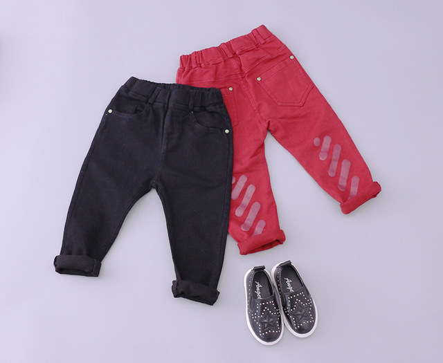 boys girls jeans and pants kdis printed denim red black jean 2016 spring autumn toddler fashion cowboys jersey children 1-5T