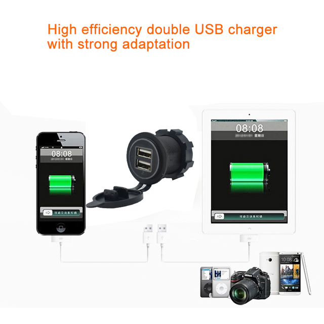 2019 New Arrive Cigarette Lighter Socket Splitter 12V-24V 2 Port USB Car Charger 5V 4.2A output with led light Power Adapter