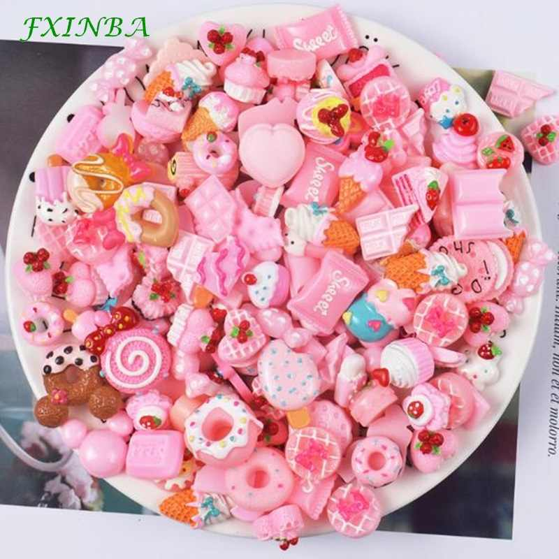 FXINBA 5Pcs/Lot Cute Resin Candy Dessert Charms For Slime Candy Polymer Clay DIY Cake Phone Decoration Slime Supplies Kit Toys