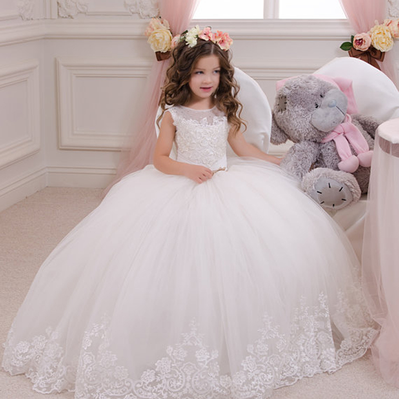 Hot Sale Ball Gown Girl Holy Communion Dresses Custom Made White Flower Girl Dresses For Wedding Lace Beaded Pageant Gown